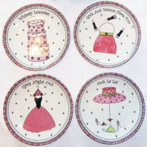 """FRANCHELLE PLATE SET GIRLS NIGHT OUT FOUR 8"""" PINK"""